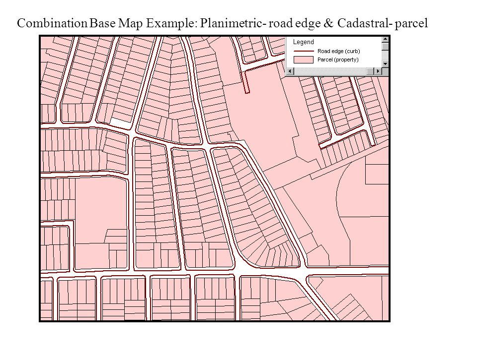 Combination Base Map Example: Planimetric- road edge & Cadastral- parcel
