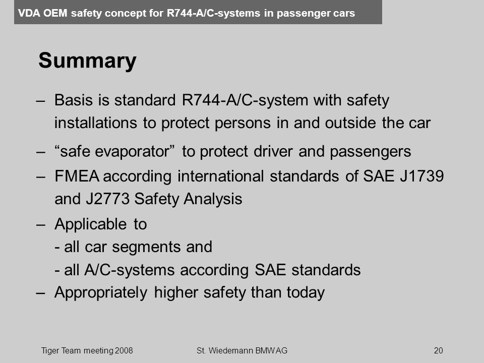 VDA OEM safety concept for R744-A/C-systems in passenger cars Tiger Team meeting 2008St. Wiedemann BMW AG20 Summary –FMEA according international stan