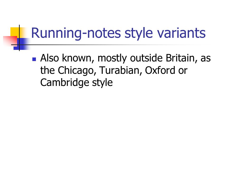 Running-notes style variants Also known, mostly outside Britain, as the Chicago, Turabian, Oxford or Cambridge style
