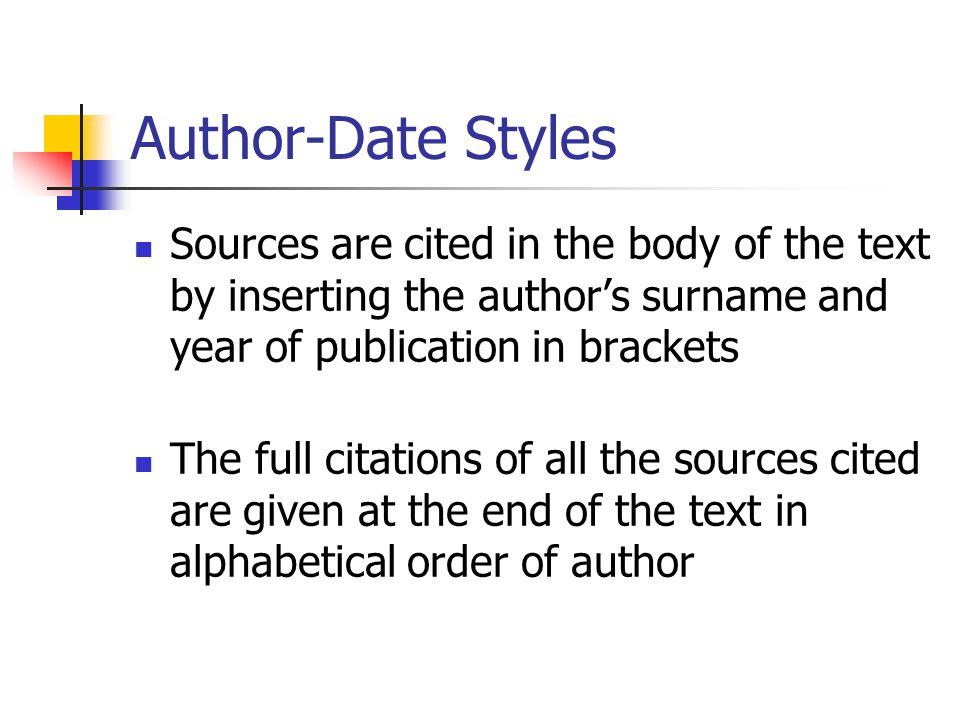 Author-Date Styles Sources are cited in the body of the text by inserting the author's surname and year of publication in brackets The full citations of all the sources cited are given at the end of the text in alphabetical order of author