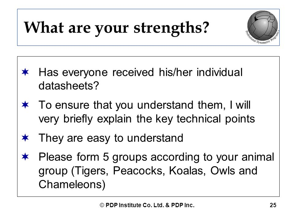 © PDP Institute Co. Ltd. & PDP Inc.25 What are your strengths?  Has everyone received his/her individual datasheets?  To ensure that you understand