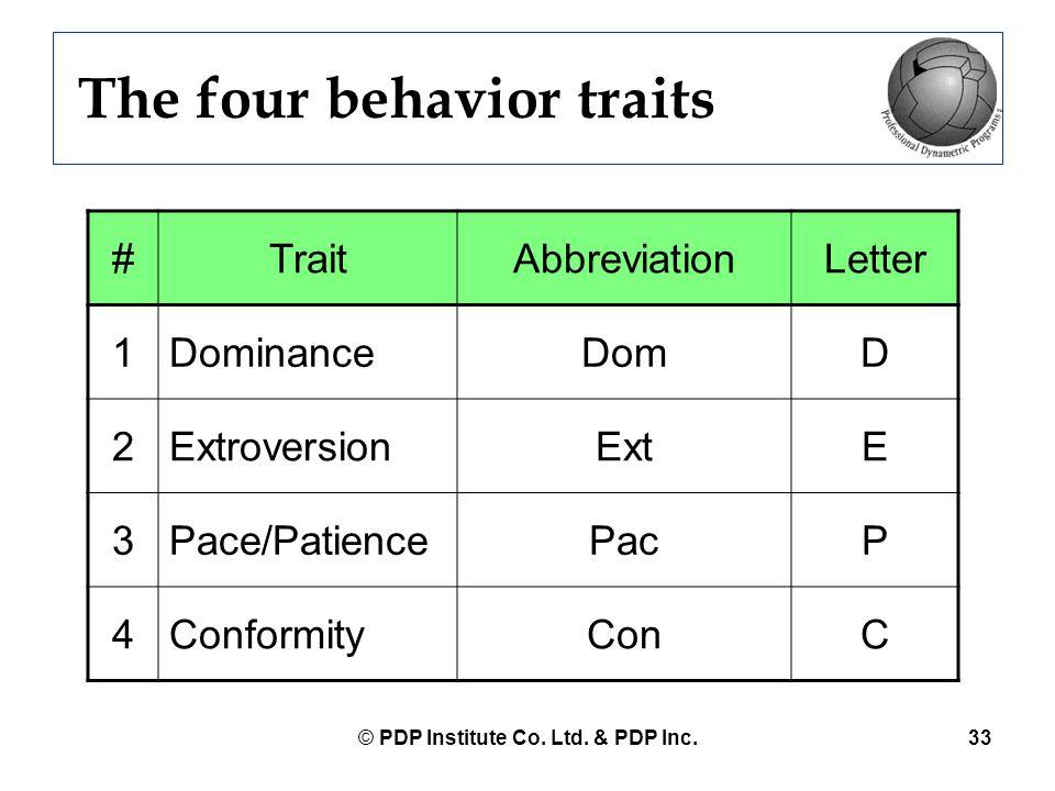 © PDP Institute Co. Ltd. & PDP Inc.33 The four behavior traits #TraitAbbreviationLetter 1DominanceDomD 2ExtroversionExtE 3Pace/PatiencePacP 4Conformit