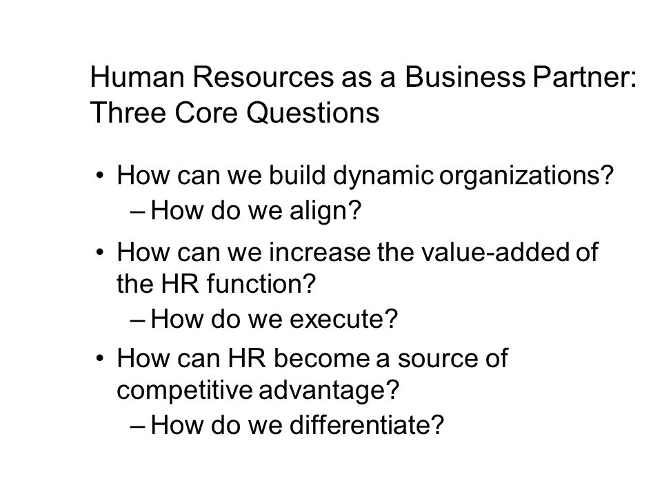 Human Resources as a Business Partner: Three Core Questions How can we build dynamic organizations? –How do we align? How can we increase the value-ad