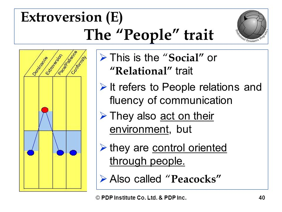 """© PDP Institute Co. Ltd. & PDP Inc.40 Extroversion (E) The """"People"""" trait  This is the """" Social"""" or """"Relational"""" trait  It refers to People relation"""