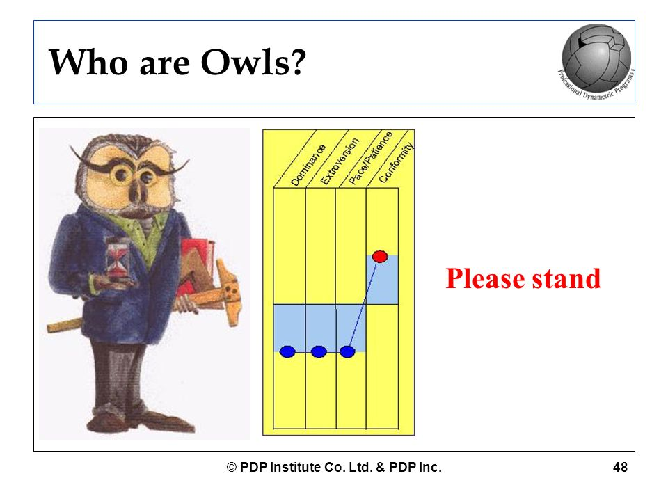 © PDP Institute Co. Ltd. & PDP Inc.48 Who are Owls? Please stand