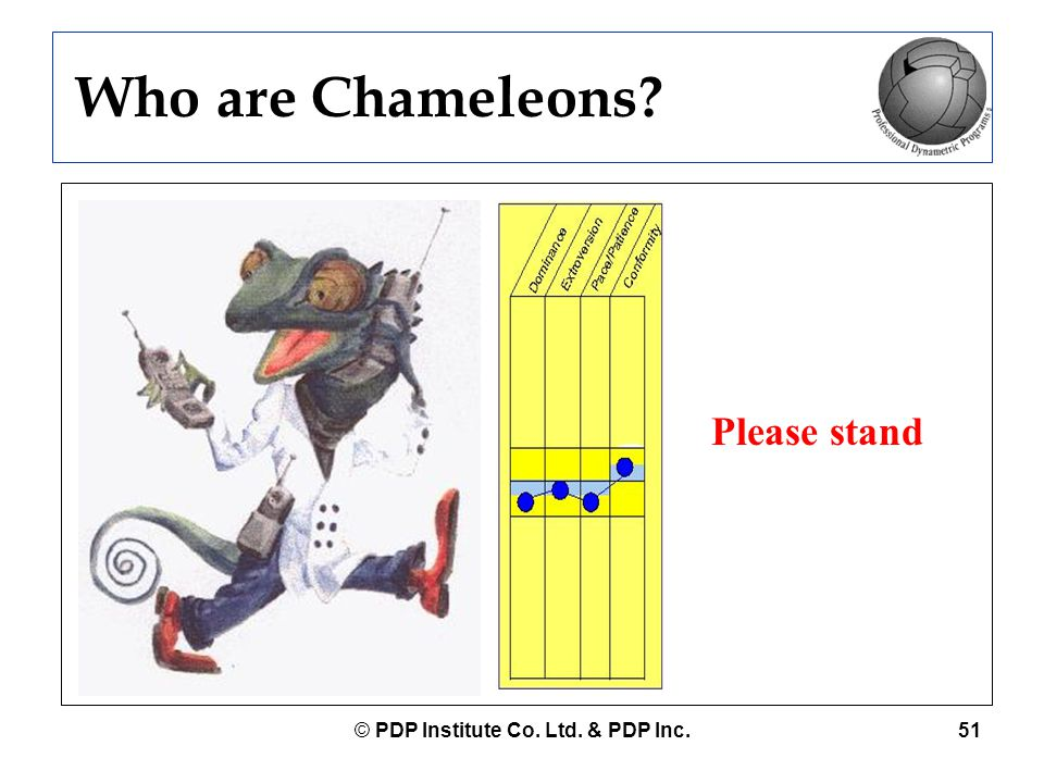 © PDP Institute Co. Ltd. & PDP Inc.51 Who are Chameleons? Please stand