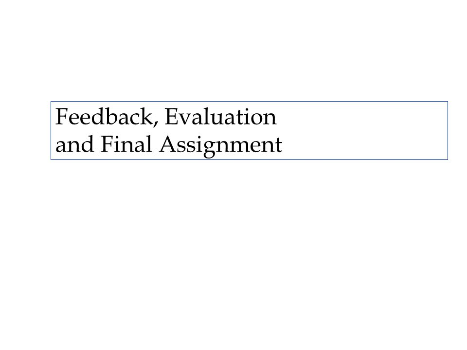 Feedback, Evaluation and Final Assignment