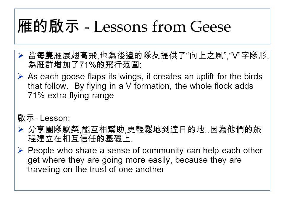 """雁的啟示 - Lessons from Geese  當每隻雁展翅高飛, 也為後邊的隊友提供了 """" 向上之風 """",""""V"""" 字隊形, 為雁群增加了 71% 的飛行范圍 :  As each goose flaps its wings, it creates an uplift for the bi"""
