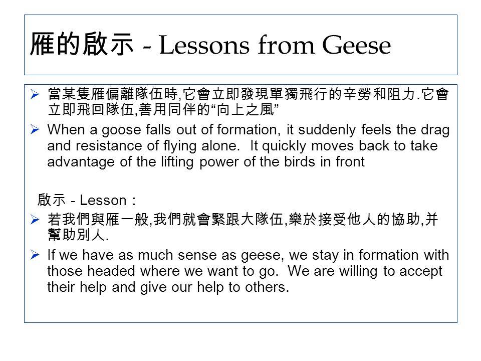 """雁的啟示 - Lessons from Geese  當某隻雁偏離隊伍時, 它會立即發現單獨飛行的辛勞和阻力. 它會 立即飛回隊伍, 善用同伴的 """" 向上之風 """"  When a goose falls out of formation, it suddenly feels the drag a"""