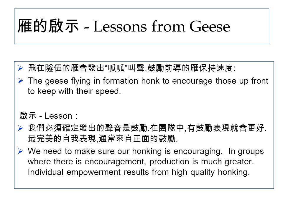 """雁的啟示 - Lessons from Geese  飛在隧伍的雁會發出 """" 呱呱 """" 叫聲, 鼓勵前導的雁保持速度 :  The geese flying in formation honk to encourage those up front to keep with their spee"""