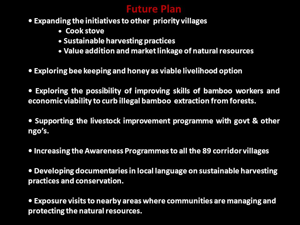 Future Plan Expanding the initiatives to other priority villages Cook stove Sustainable harvesting practices Value addition and market linkage of natural resources Exploring bee keeping and honey as viable livelihood option Exploring the possibility of improving skills of bamboo workers and economic viability to curb illegal bamboo extraction from forests.