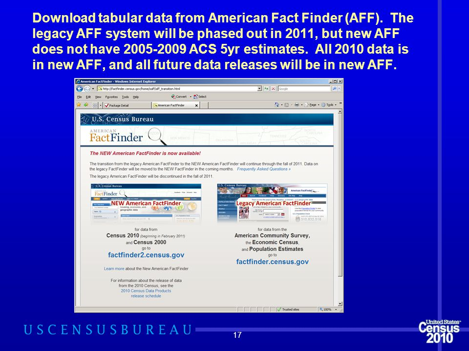Download tabular data from American Fact Finder (AFF). The legacy AFF system will be phased out in 2011, but new AFF does not have 2005-2009 ACS 5yr e