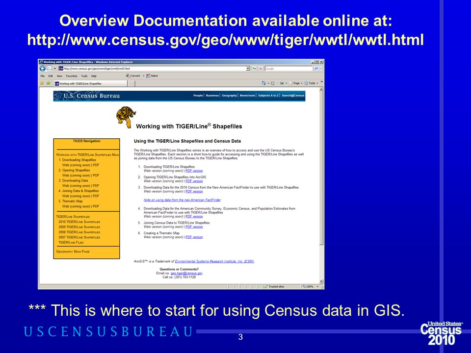 Overview Documentation available online at: http://www.census.gov/geo/www/tiger/wwtl/wwtl.html 3 *** This is where to start for using Census data in G
