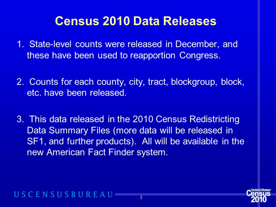 Census 2010 Data Releases 1. State-level counts were released in December, and these have been used to reapportion Congress. 2. Counts for each county
