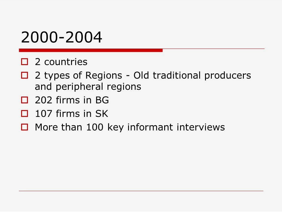 2000-2004  2 countries  2 types of Regions - Old traditional producers and peripheral regions  202 firms in BG  107 firms in SK  More than 100 key informant interviews