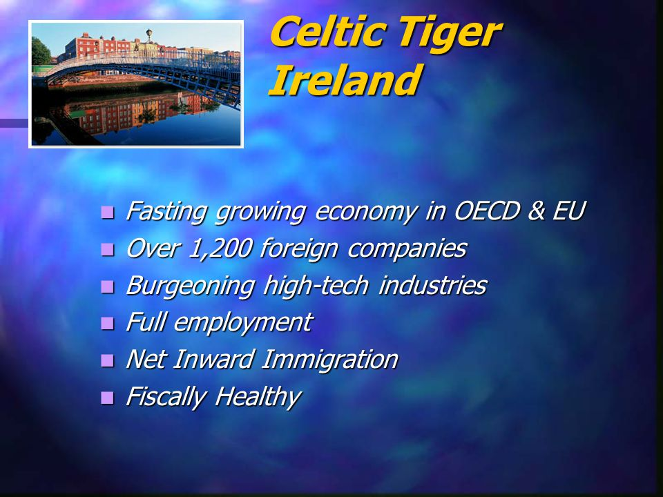 Pre Celtic Tiger Ireland 1970s: Per capita income, 64% EU Average 1970s: Per capita income, 64% EU Average 1986: Unemployment 17% (21/30 yrs) 1986: Unemployment 17% (21/30 yrs) 1989: Out migration 40,000 1989: Out migration 40,000 National Debt 127% of GDP National Debt 127% of GDP Soaring Inflation Soaring Inflation IMF Bailout.