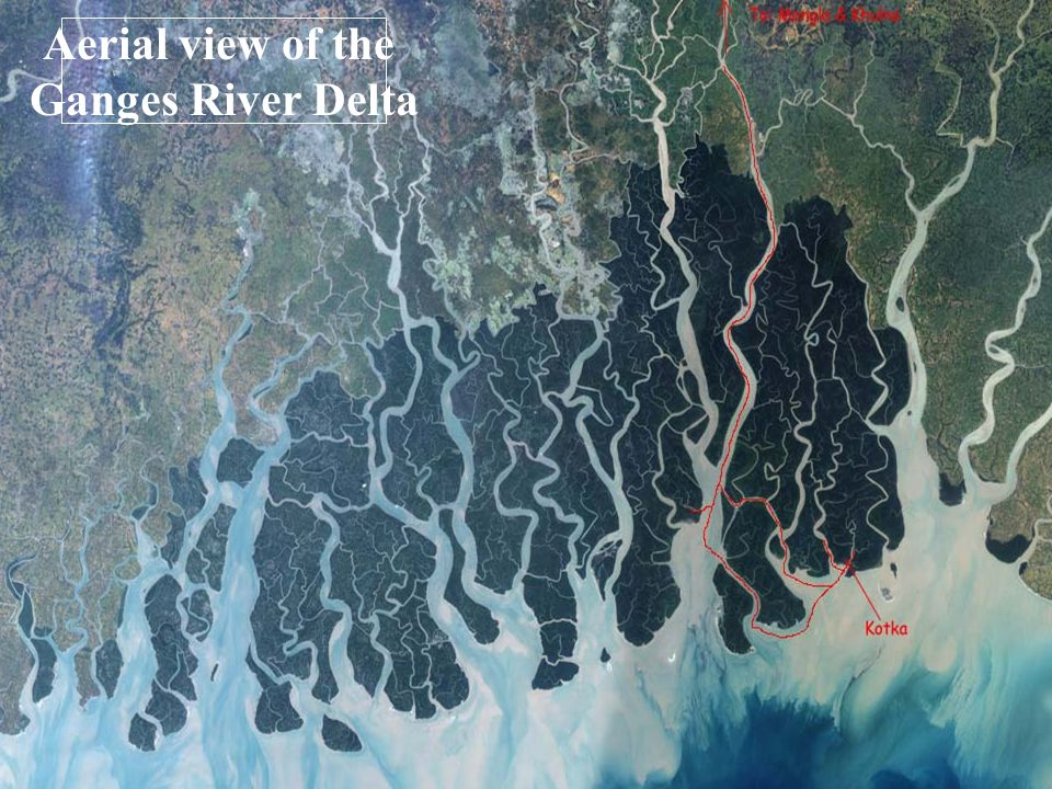 Aerial view of the Ganges River Delta