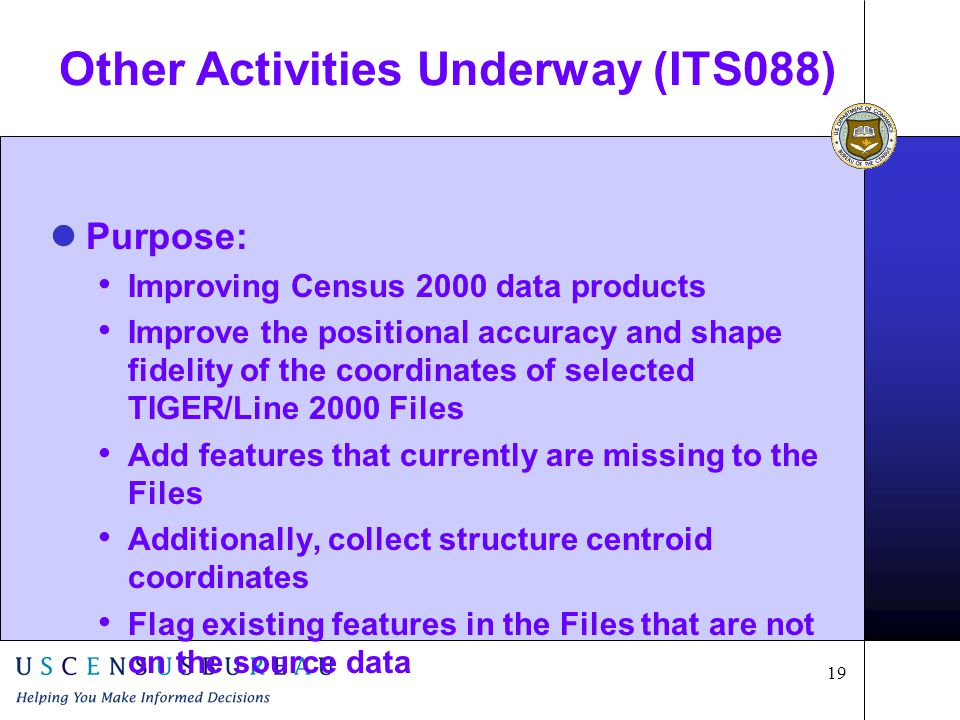 19 Other Activities Underway (ITS088) Purpose: Improving Census 2000 data products Improve the positional accuracy and shape fidelity of the coordinates of selected TIGER/Line 2000 Files Add features that currently are missing to the Files Additionally, collect structure centroid coordinates Flag existing features in the Files that are not on the source data
