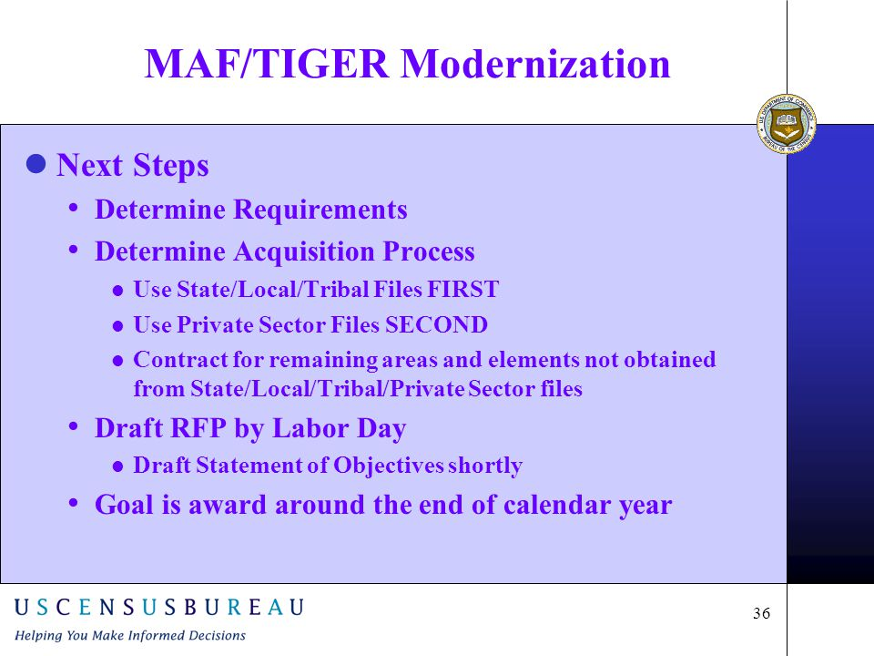 36 MAF/TIGER Modernization lNext Steps Determine Requirements Determine Acquisition Process l Use State/Local/Tribal Files FIRST l Use Private Sector Files SECOND l Contract for remaining areas and elements not obtained from State/Local/Tribal/Private Sector files Draft RFP by Labor Day l Draft Statement of Objectives shortly Goal is award around the end of calendar year