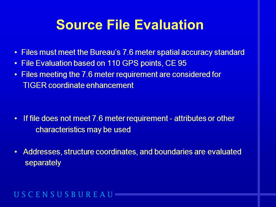 Source File Evaluation Files must meet the Bureau's 7.6 meter spatial accuracy standard File Evaluation based on 110 GPS points, CE 95 Files meeting the 7.6 meter requirement are considered for TIGER coordinate enhancement If file does not meet 7.6 meter requirement - attributes or other characteristics may be used Addresses, structure coordinates, and boundaries are evaluated separately