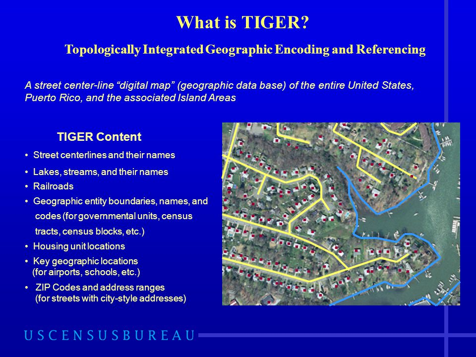 What is TIGER? Topologically Integrated Geographic Encoding and Referencing TIGER Content Street centerlines and their names Lakes, streams, and their