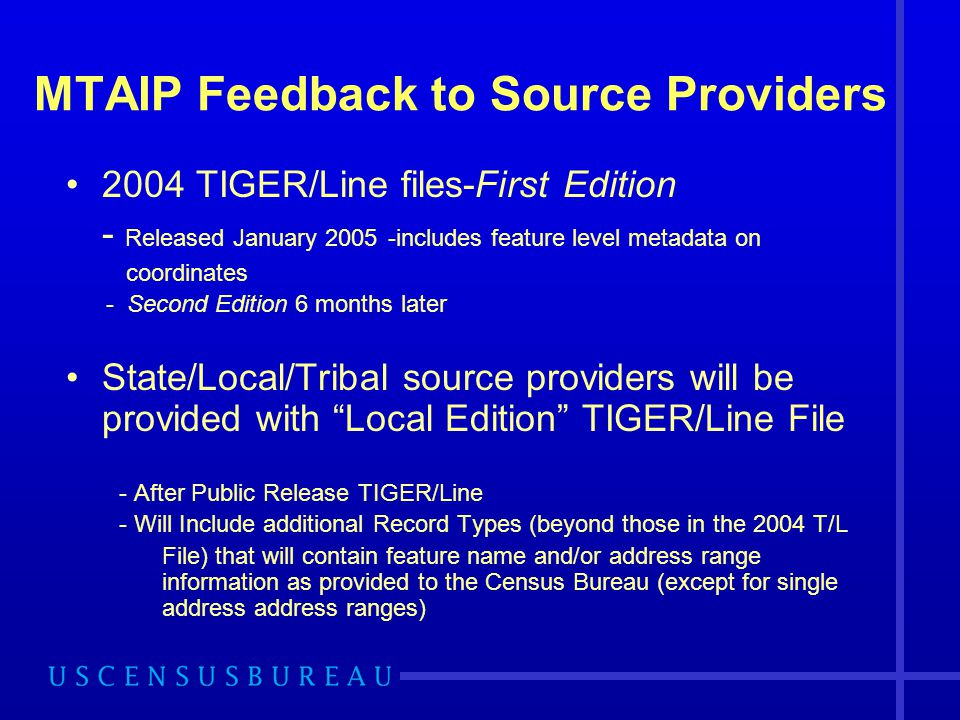 MTAIP Feedback to Source Providers 2004 TIGER/Line files-First Edition - Released January 2005 -includes feature level metadata on coordinates - Secon