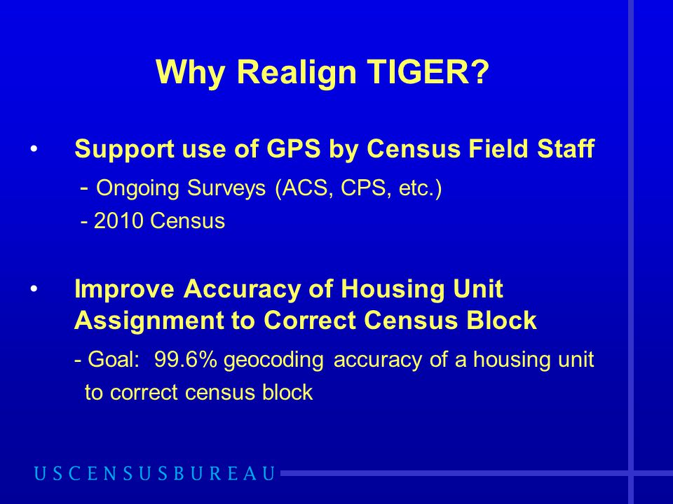 Why Realign TIGER? Support use of GPS by Census Field Staff - Ongoing Surveys (ACS, CPS, etc.) - 2010 Census Improve Accuracy of Housing Unit Assignme
