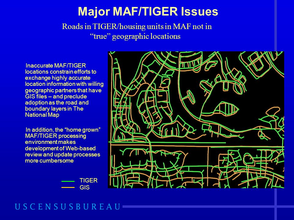 Major MAF/TIGER Issues Inaccurate MAF/TIGER locations constrain efforts to exchange highly accurate location information with willing geographic partn