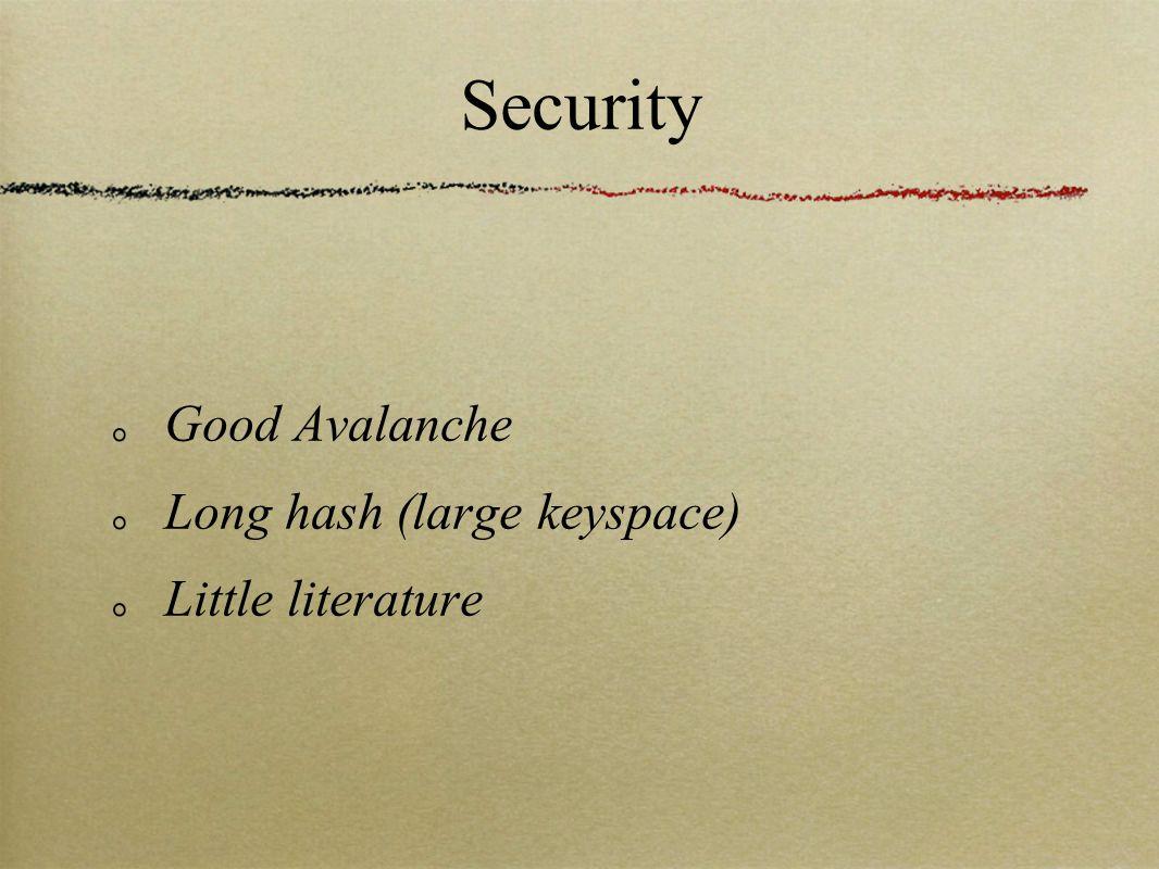 Security Good Avalanche Long hash (large keyspace) Little literature