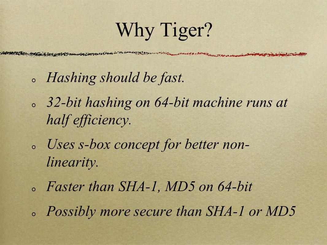 Why Tiger. Hashing should be fast. 32-bit hashing on 64-bit machine runs at half efficiency.