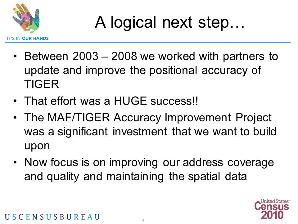 4 A logical next step… Between 2003 – 2008 we worked with partners to update and improve the positional accuracy of TIGER That effort was a HUGE succe