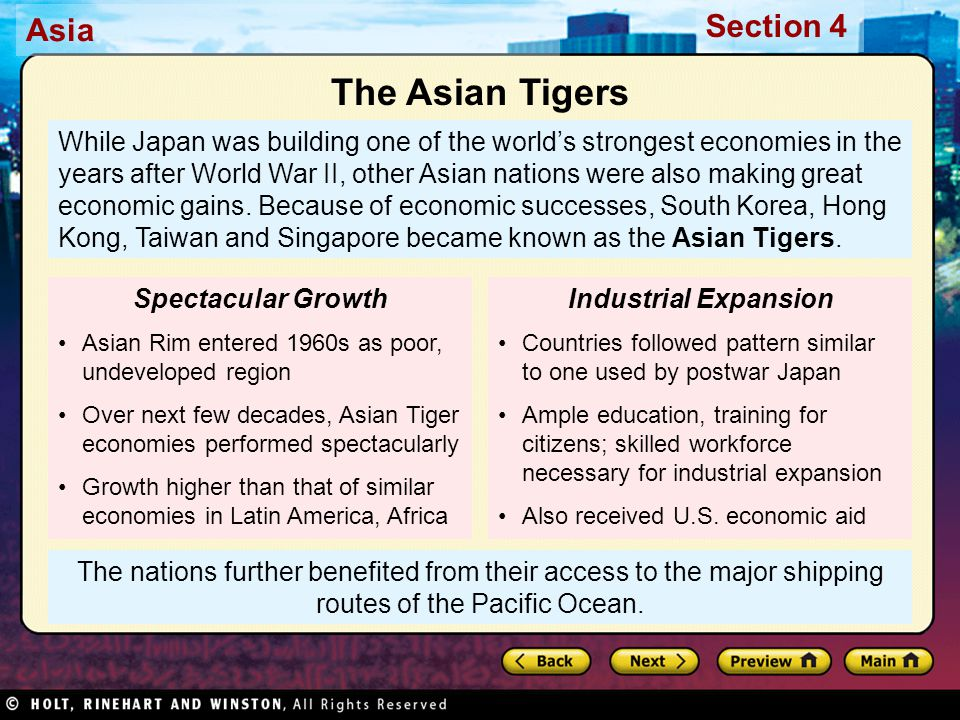 Asia Section 4 The nations further benefited from their access to the major shipping routes of the Pacific Ocean.