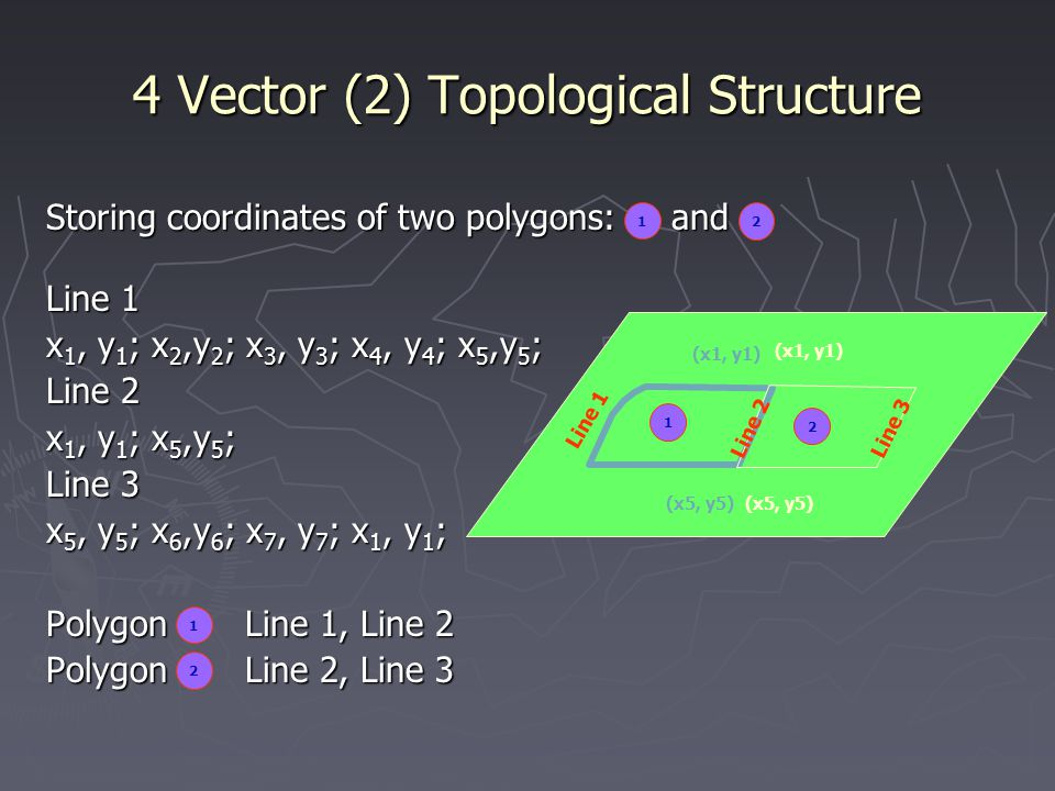 4 Vector (2) Topological Structure Storing coordinates of two polygons: and Line 1 x 1, y 1 ; x 2,y 2 ; x 3, y 3 ; x 4, y 4 ; x 5,y 5 ; Line 2 x 1, y