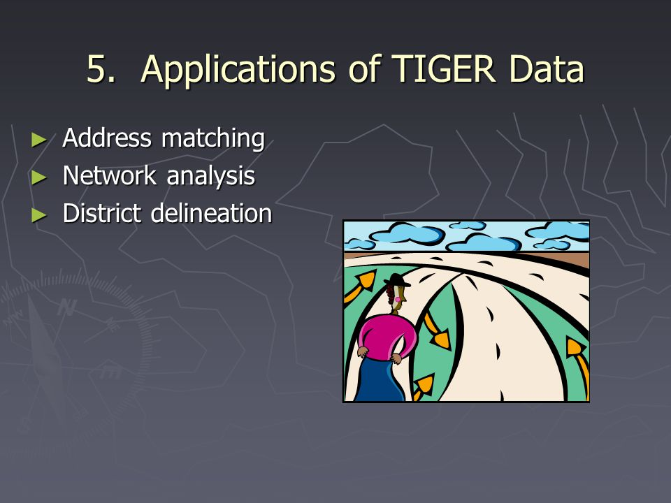 5. Applications of TIGER Data ► Address matching ► Network analysis ► District delineation