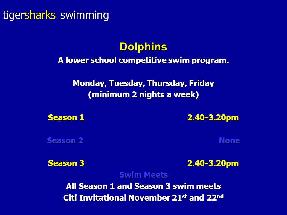 tigersharks swimming Dolphins A lower school competitive swim program.