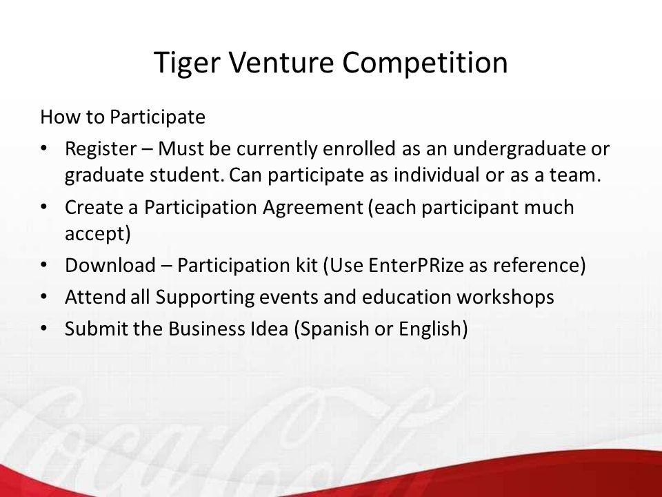 How to Participate Register – Must be currently enrolled as an undergraduate or graduate student.