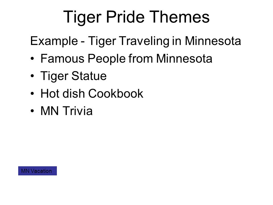 Tiger Pride Themes Example - Tiger Traveling in Minnesota Famous People from Minnesota Tiger Statue Hot dish Cookbook MN Trivia MN Vacation