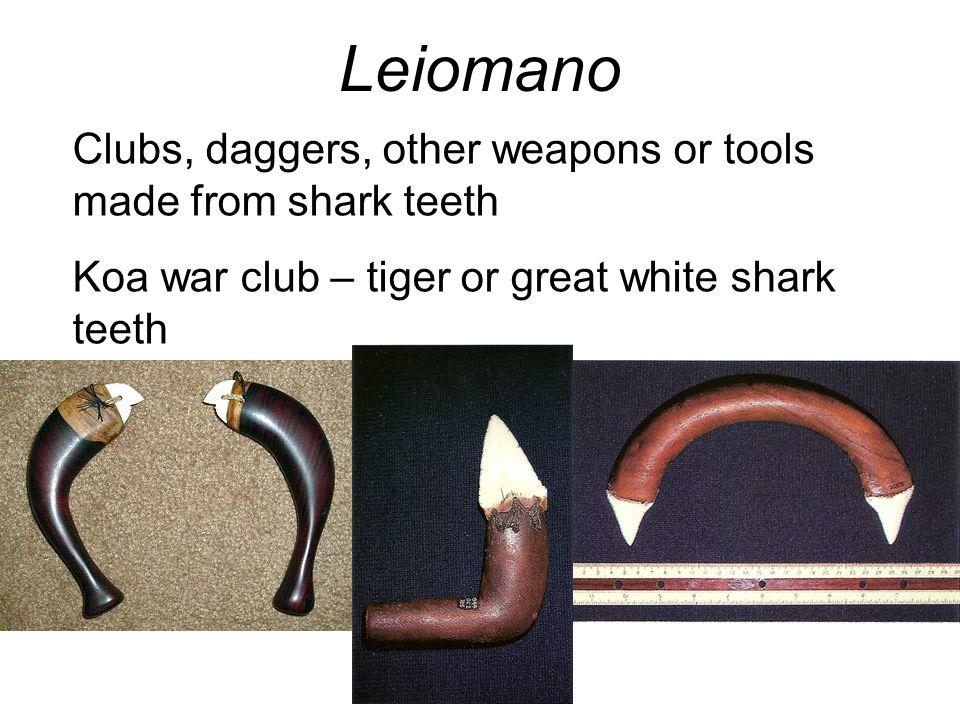 Leiomano Clubs, daggers, other weapons or tools made from shark teeth Koa war club – tiger or great white shark teeth