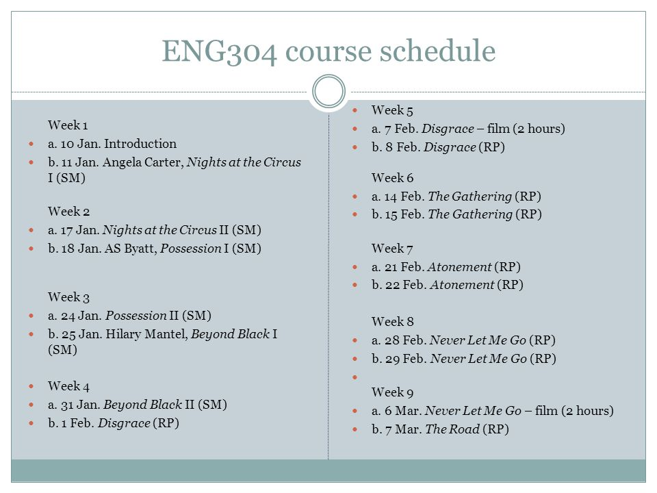 ENG304 course schedule Week 1 a. 10 Jan. Introduction b. 11 Jan. Angela Carter, Nights at the Circus I (SM) Week 2 a. 17 Jan. Nights at the Circus II