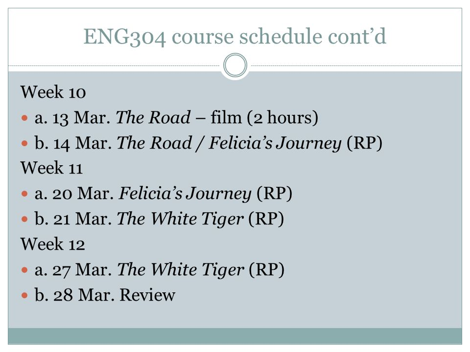 ENG304 course schedule cont'd Week 10 a. 13 Mar. The Road – film (2 hours) b. 14 Mar. The Road / Felicia's Journey (RP) Week 11 a. 20 Mar. Felicia's J