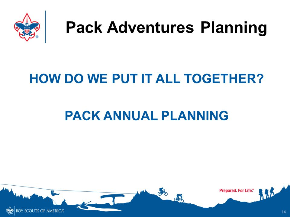 Pack Adventures Planning 14 HOW DO WE PUT IT ALL TOGETHER? PACK ANNUAL PLANNING