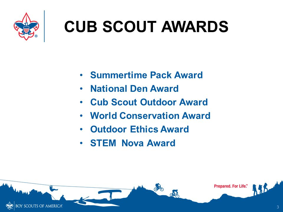 CUB SCOUT AWARDS 3 Summertime Pack Award National Den Award Cub Scout Outdoor Award World Conservation Award Outdoor Ethics Award STEM Nova Award