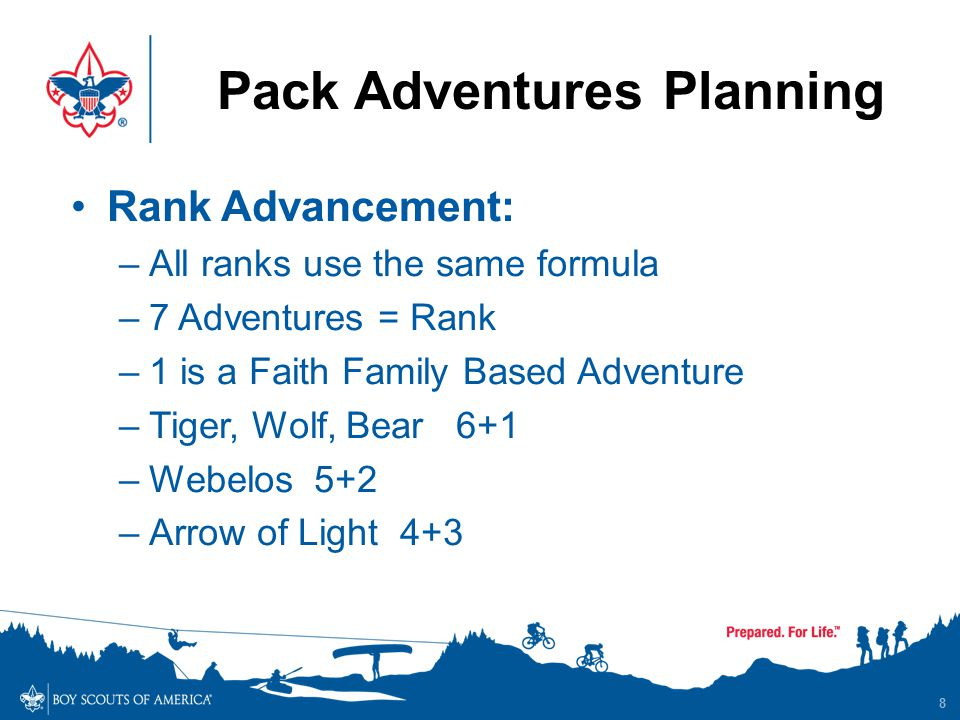 Pack Adventures Planning 8 Rank Advancement: –All ranks use the same formula –7 Adventures = Rank –1 is a Faith Family Based Adventure –Tiger, Wolf, B