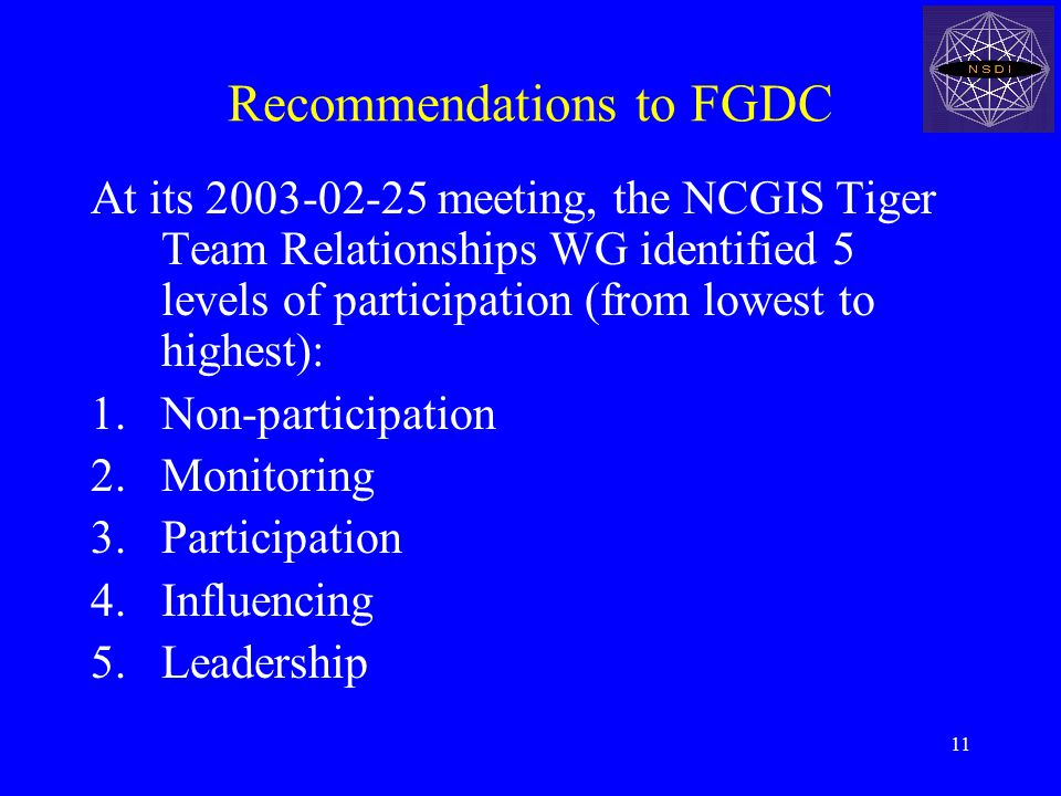 11 Recommendations to FGDC At its 2003-02-25 meeting, the NCGIS Tiger Team Relationships WG identified 5 levels of participation (from lowest to highest): 1.Non-participation 2.Monitoring 3.Participation 4.Influencing 5.Leadership