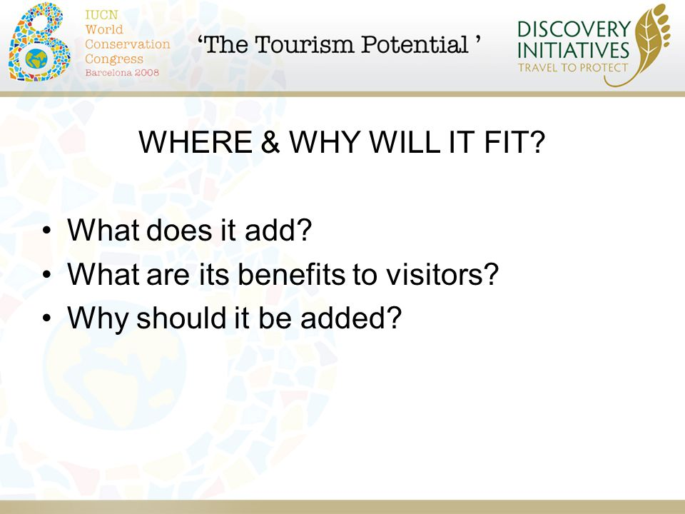 WHERE & WHY WILL IT FIT. What does it add. What are its benefits to visitors.