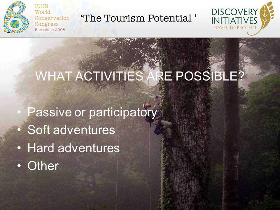 WHAT ACTIVITIES ARE POSSIBLE Passive or participatory Soft adventures Hard adventures Other