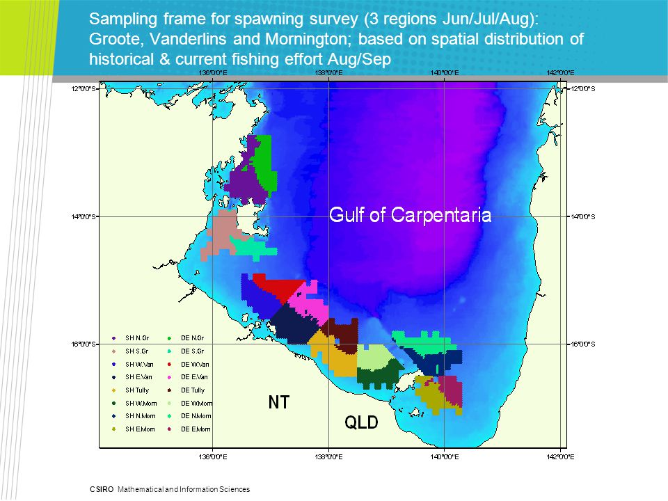 CSIRO Mathematical and Information Sciences Sampling frame for recruitment survey (5 regions Jan/Feb): (Groote, Vanderlins, Mornington, SEGulf & Weipa) based on known/inferred inshore nursery habitat + some offshore movement