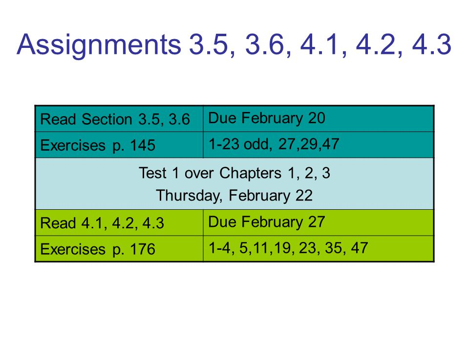 Assignments 3.5, 3.6, 4.1, 4.2, 4.3 Read Section 3.5, 3.6 Due February 20 Exercises p. 145 1-23 odd, 27,29,47 Test 1 over Chapters 1, 2, 3 Thursday, F