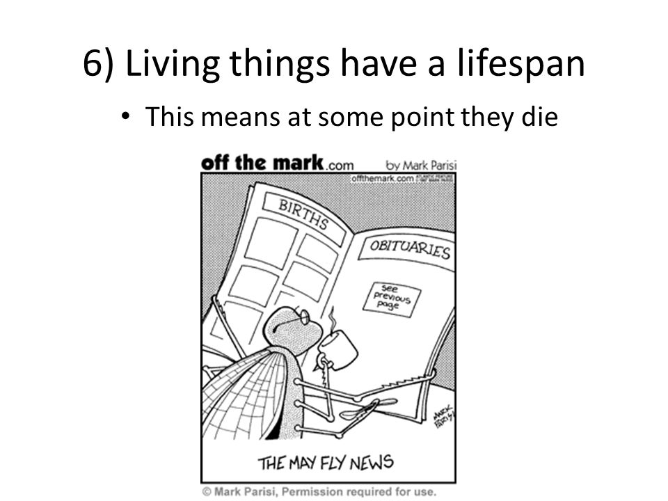 6) Living things have a lifespan This means at some point they die