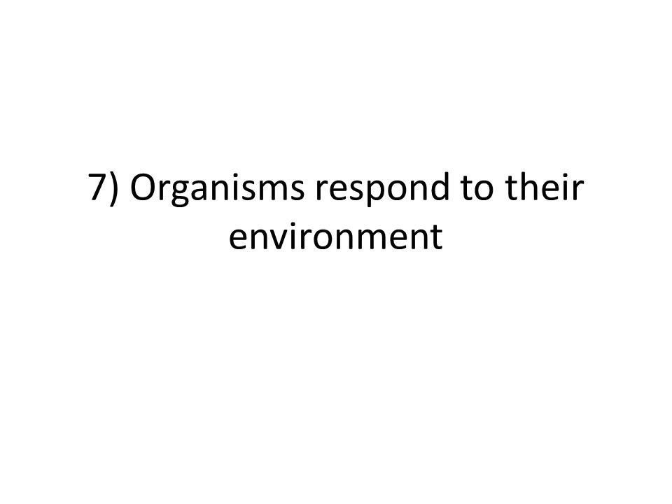 7) Organisms respond to their environment